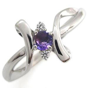 プラチナ エンゲージリング アメジスト エンゲージリング クロス エンゲージリング 婚約指輪