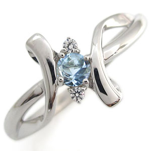 プラチナ エンゲージリング アクアマリンサンタマリア エンゲージリング クロス エンゲージリング 婚約指輪