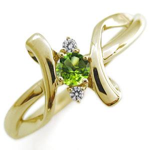 【10%OFF】4日20時~ ペリドット・リング・クロス・リング・10金・指輪・レディースリング 母の日 プレゼント