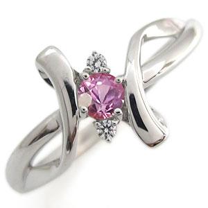 プラチナ リング ピンクサファイア リング クロス リング 指輪