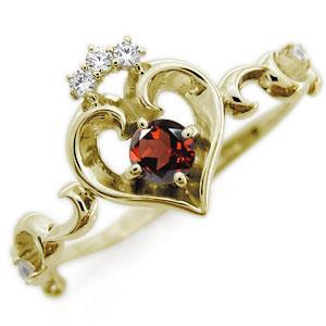 ガーネット エンゲージリング ハート アラベスク 18金 華奢 婚約指輪