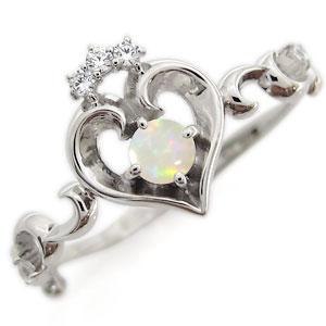 プラチナ オープンハート エンゲージリング ティアラ オパール エンゲージリング 婚約指輪