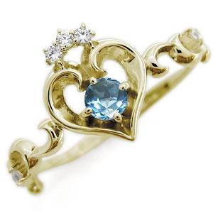 ブルートパーズ リング ハート アラベスク 18金 華奢 指輪