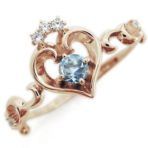ハート エンゲージリング アクアマリンサンタマリア エンゲージリング 唐草 華奢 エンゲージリング 10金 婚約指輪