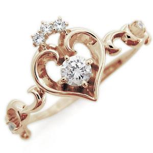 ハート リング ダイヤモンド リング 唐草 華奢 リング 10金 指輪