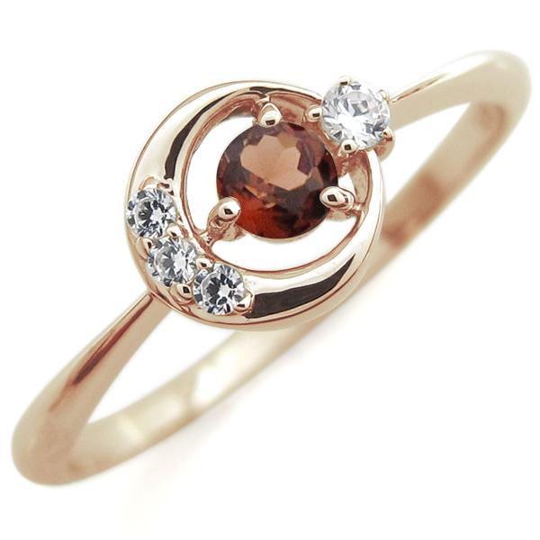 ガーネット 月モチーフ リング 星 10金 指輪