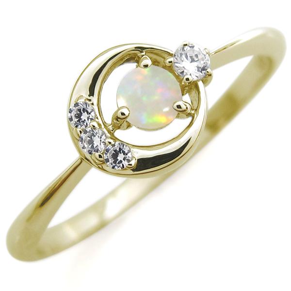 9/11 1:59迄月モチーフ エンゲージリング オパール K18 婚約指輪 オパールリング