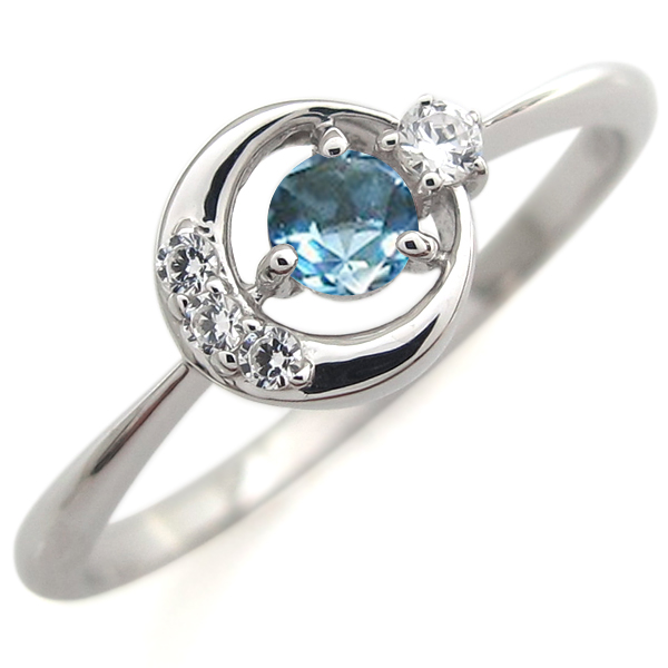 指輪 レディース おしゃれ プラチナ ブルートパーズ リング 月モチーフ 人気 リング 母の日 プレゼント