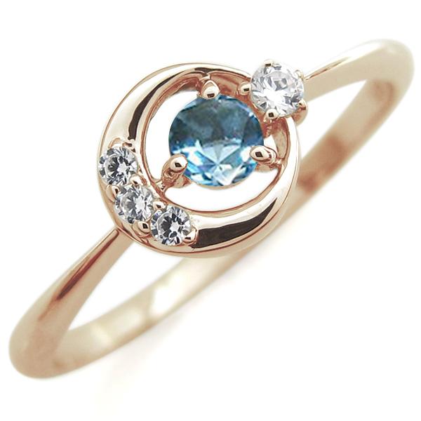 ブルートパーズ 月モチーフ リング 星 10金 指輪