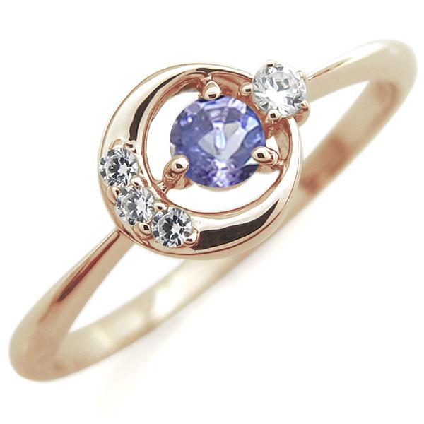 タンザナイト 月モチーフ リング 星 10金 指輪