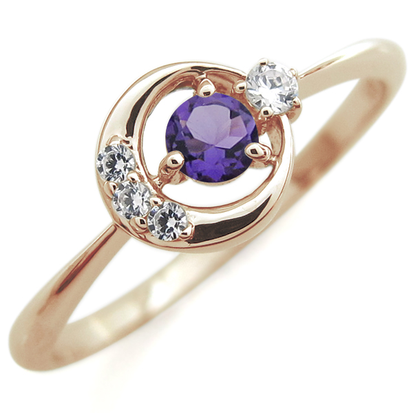 アメジスト 月モチーフ エンゲージリング 星 10金 婚約指輪