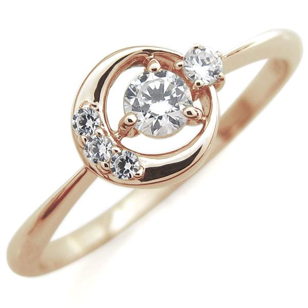 ダイヤモンド 月モチーフ リング 星 10金 指輪
