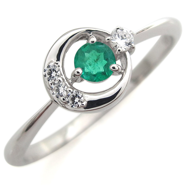指輪 レディース おしゃれ プラチナ エメラルド エンゲージリング 月モチーフ 婚約人気 リング 母の日 プレゼント