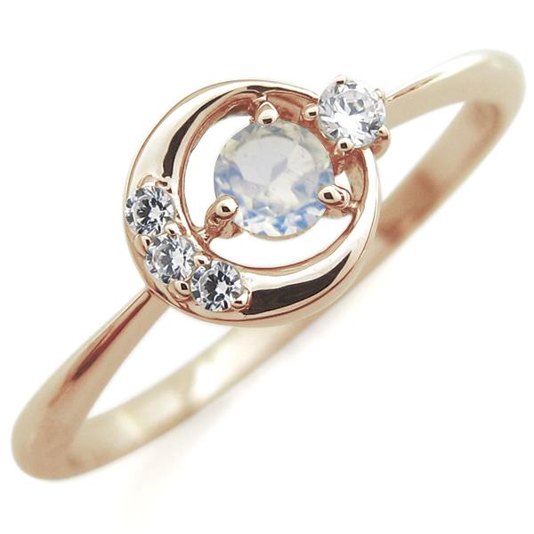 9日20時~ ロイヤルブルームーンストーン 月モチーフ リング 星 10金 指輪