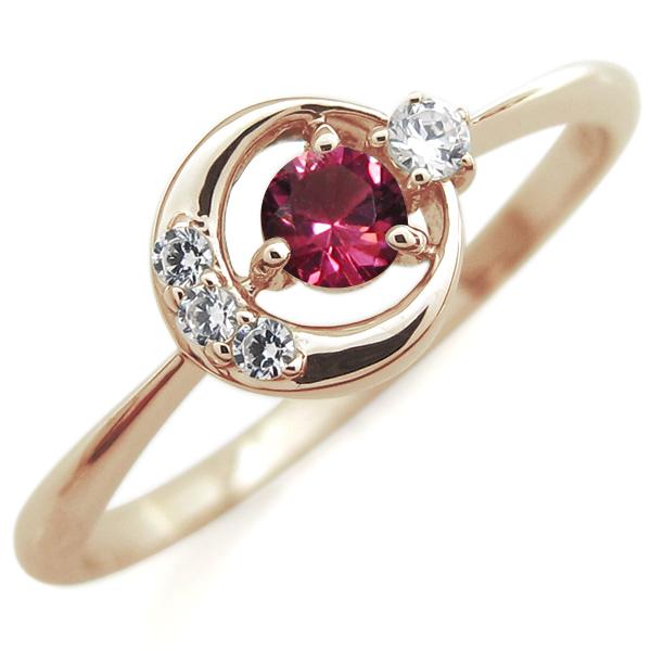 ルビー 月モチーフ リング 星 10金 指輪
