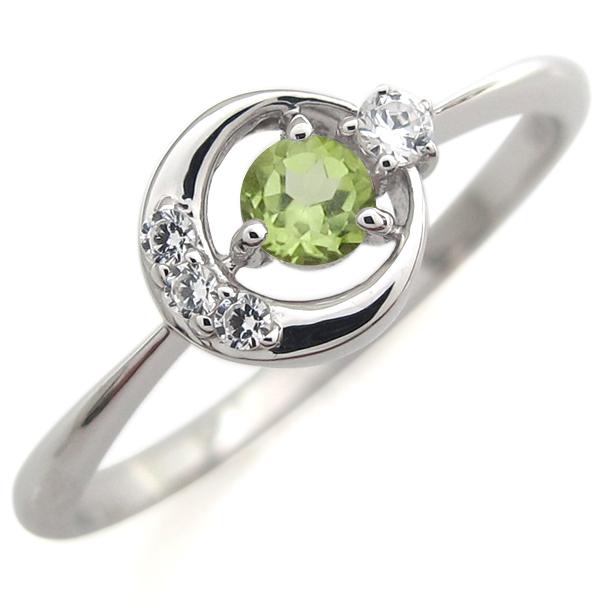 指輪 レディース おしゃれ プラチナ ペリドット リング 月モチーフ 人気 リング 母の日 プレゼント