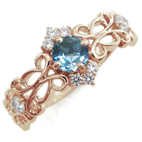 K18 ブルートパーズ リング アンティーク リング アラベスク 指輪