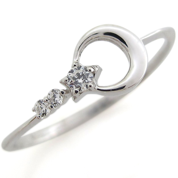 9/11 1:59迄ピンキーリング プラチナ ダイヤモンド 指輪 星 月 ファランジリング
