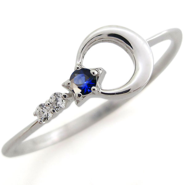 【P5~10倍】29日~ ピンキーリング プラチナ サファイア 指輪 星 月 ファランジリング