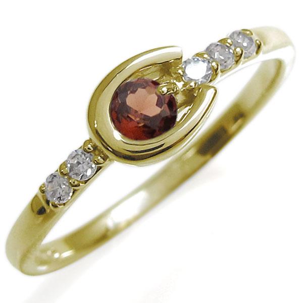 ホースシューリング レディース ガーネット リング 馬蹄 10金 指輪 母の日 プレゼント