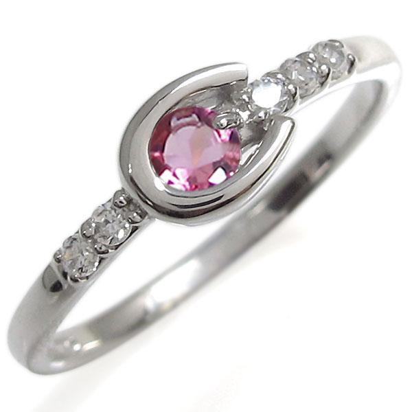 【10%OFF】4日20時~ ピンクトルマリン リング ホースシューリング プラチナ 指輪