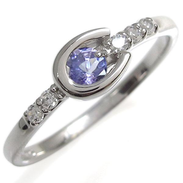 【10%OFF】4日20時~ タンザナイト リング ホースシューリング プラチナ 指輪