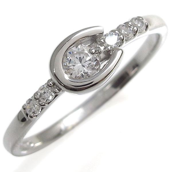 【10%OFFクーポン】5日23:59迄 指輪 馬蹄 レディース リング シルバー 4月誕生石 ダイヤモンド