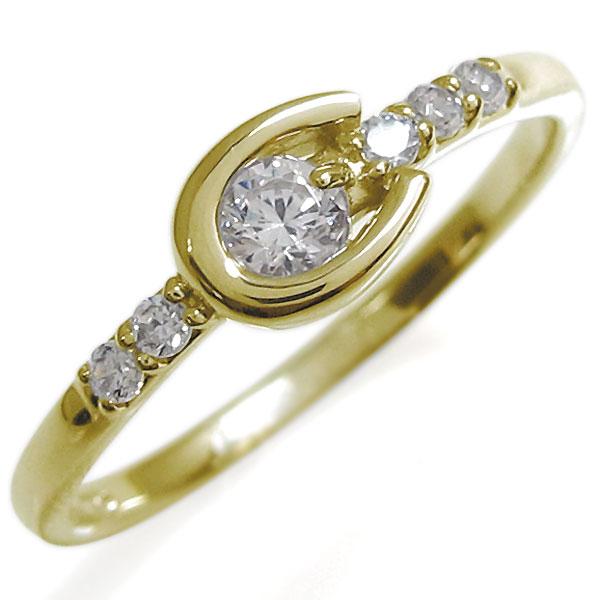 ホースシューリング レディース ダイヤモンド リング 馬蹄 10金 指輪 母の日 プレゼント