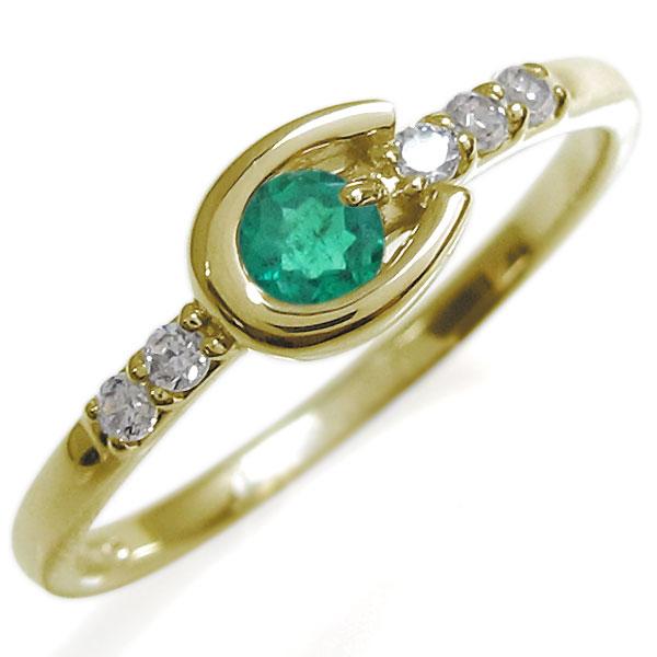 ホースシューリング レディース エメラルド リング 馬蹄 10金 指輪 母の日 プレゼント