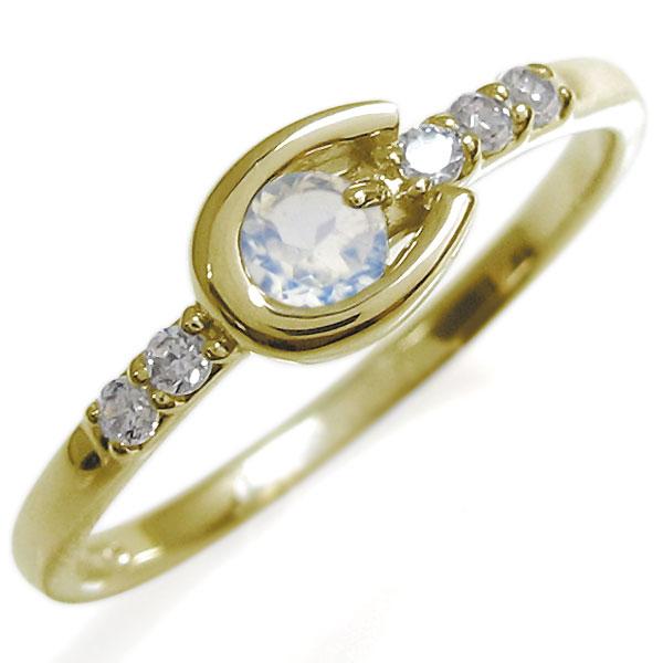 ホースシューリング レディース ロイヤルブルームーンストーン リング 馬蹄 10金 指輪 母の日 プレゼント