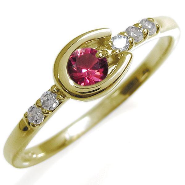 ホースシューリング レディース ルビー リング 馬蹄 10金 指輪 母の日 プレゼント