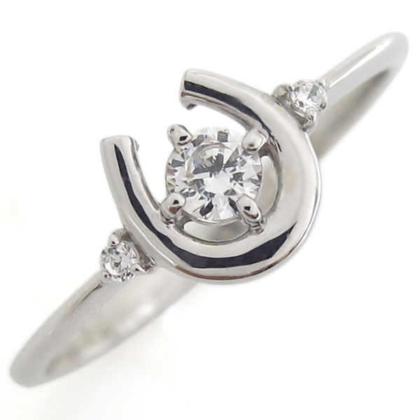 プラチナ ホースシュー リング ダイヤモンド 馬蹄 指輪
