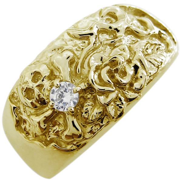 送料無料 ダイヤモンド髑髏 薔薇 スカルリング 指輪 メンズ K18 ダイヤモンド スカル バラ リング 骸骨 メンズリング 指輪 18金