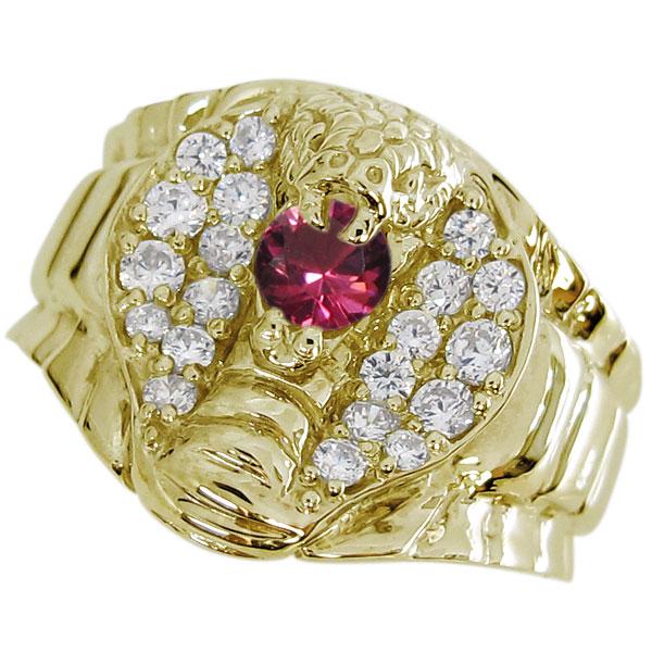 送料無料 指輪 メンズ ゴールド ルビー リング スネーク へび 18金 指輪 メンズ ゴールド ルビー リング スネーク へび 18金
