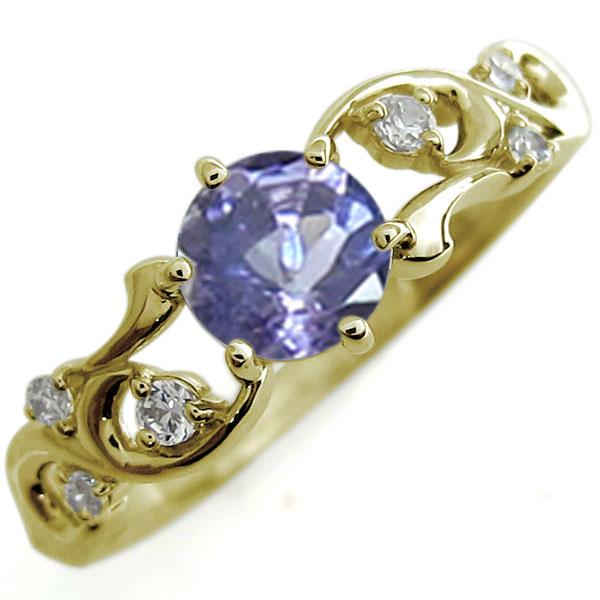 タンザナイト 婚約指輪 唐草 アラベスク エンゲージリング 大粒 K18 リング