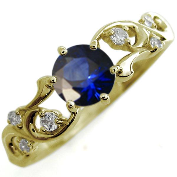 サファイア 婚約指輪 唐草 アラベスク エンゲージリング 大粒 K18 リング