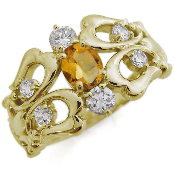 シトリン 百合の紋章 リング 10金 オーバル 指輪