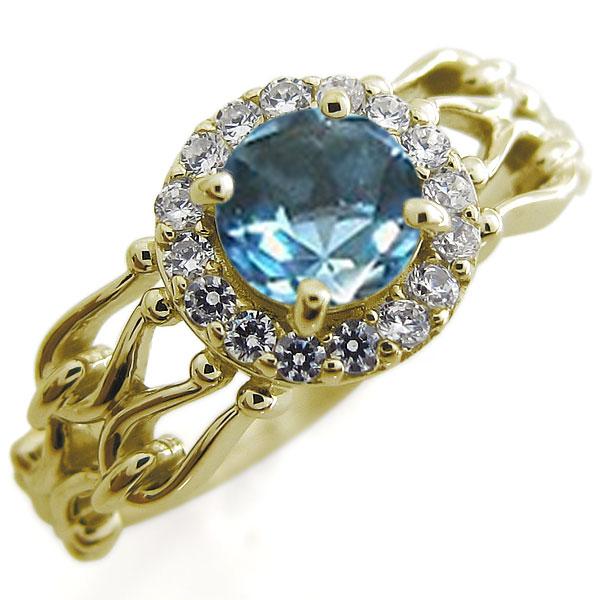 ブルートパーズ アンティーク 婚約指輪 取り巻き ゴージャス 大粒 K18