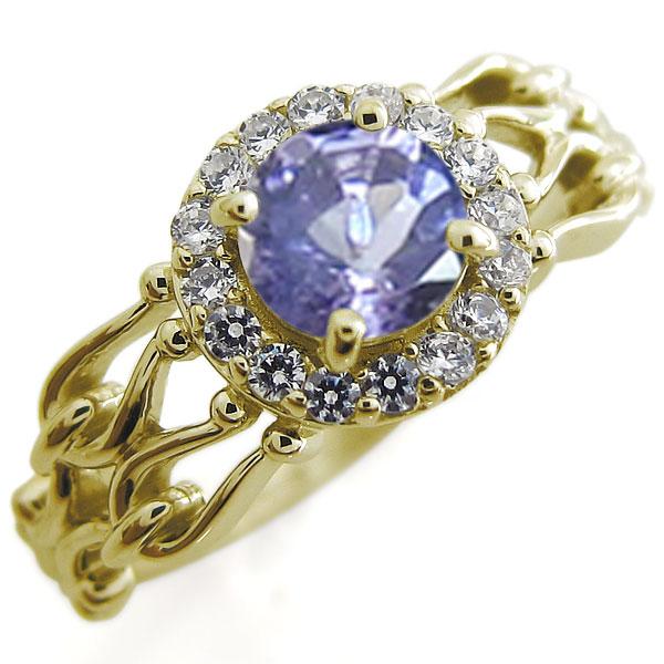 タンザナイト アンティーク 婚約指輪 取り巻き ゴージャス 大粒 K18