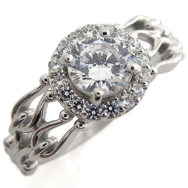 プラチナ 婚約指輪 取り巻き 指輪 ダイヤモンドリング