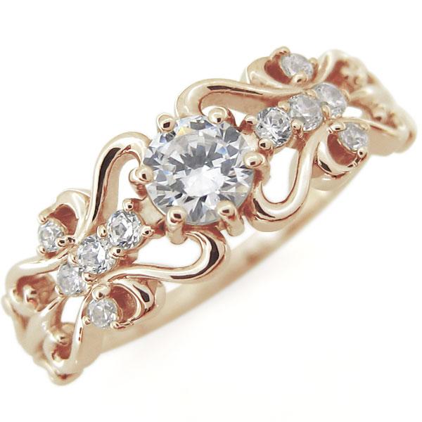 K18 ダイヤモンド リング アンティーク リング アラベスク 指輪