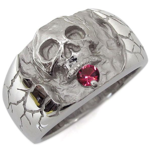 送料無料 ルビー プラチナ 骸骨 指輪 スカルリング プラチナ・ルビー・ドクロリング・骸骨・リング・指輪