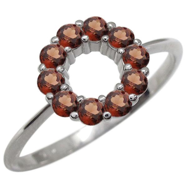 プラチナ エタニティガーネット リング 指輪 サークル