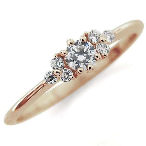 ダイヤモンド ファランジリング ピンキーリング シンプル 指輪 10金