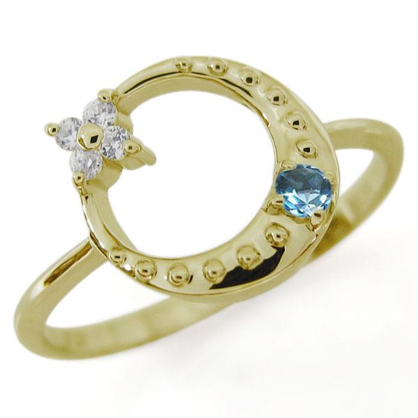 【10%OFF】4日20時~ ブルートパーズ 星 月 スターリング 指輪 K10 一粒