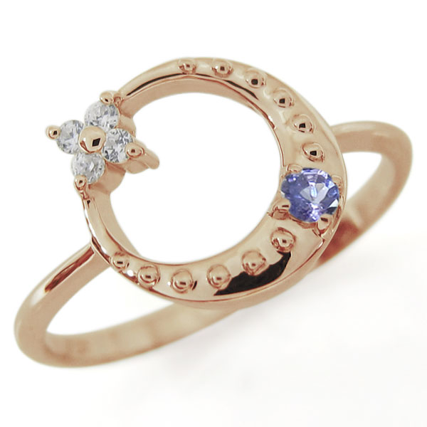 星・月・モチーフ・タンザナイト・リング・18金・指輪