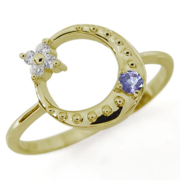 【10%OFF】4日20時~ タンザナイト 星 月 スターリング 指輪 K10 一粒