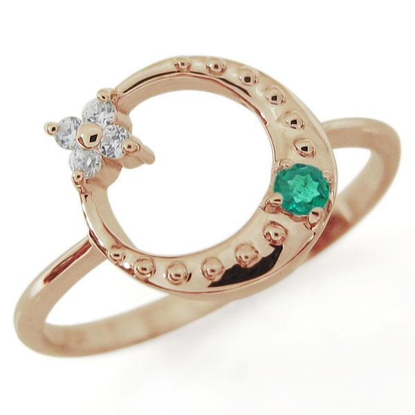 星・月・モチーフ・エメラルド・リング・18金・指輪
