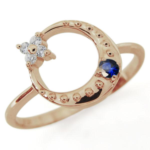 星・月・モチーフ・サファイア・リング・18金・指輪