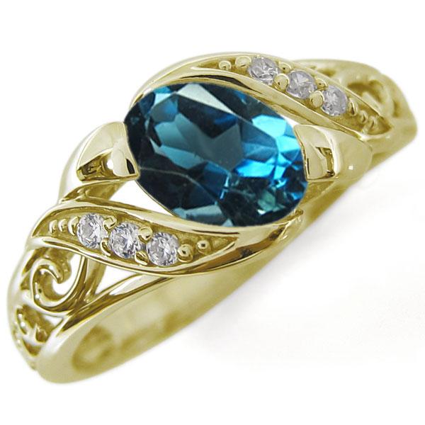 【10%OFF】4日20時~ アラベスク ロンドンブルートパーズ リング 唐草 K18 爪なし 指輪